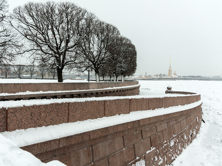 Touristic landmark in Saint Petersburg, Russia: the Spit of Vasilievsky Island covered by snow by a winter day with silhouettes of trees Фото со стока