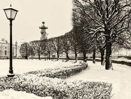 Landmark in St Petersburg, Russia: rostral column and park with silhouettes of trees and lantern on the Vasilievsky Island by a winter day with a lot of snow around. Black and white retro photo. Фото со стока