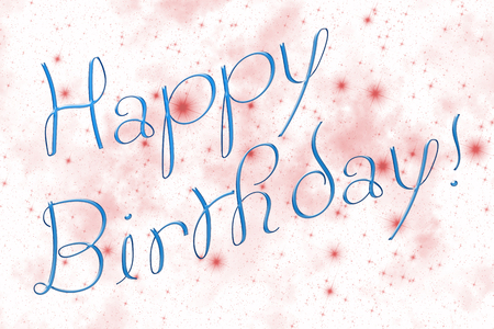 Illustration representing gift greeting cart composed of light blue inscription 'Happy Birthday!' and white sky covered by twinkling sparkling red stars of different sizes in background