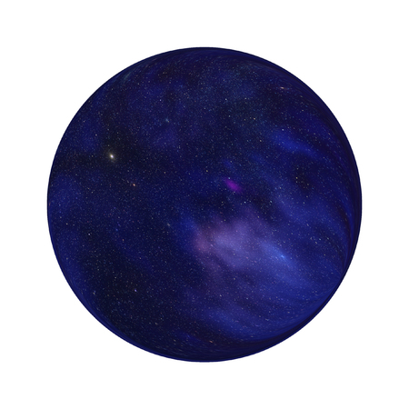 Abstract decorative cosmic science illustration: artistic view on the closed Universe  space model filled by stars, nebulae  and other cosmic objects isolated on white background.