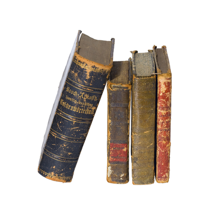 Antique vintage old retro worn books isolated on white background / backdrop. Фото со стока - 88339725