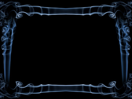 Decorative abstract blue frame isolated over black background made of smoke. There is copy space to insert a text or an image.