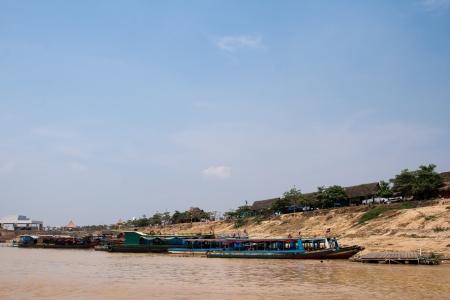 tonle sap: On banks of river near Tonle Sap Lake  Cambodia