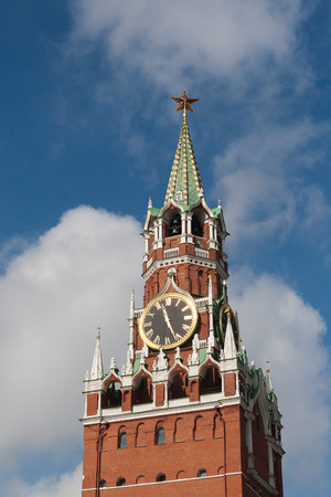 spasskaya: The Kremlin Spasskaya clock tower. Moscow, Russia Stock Photo