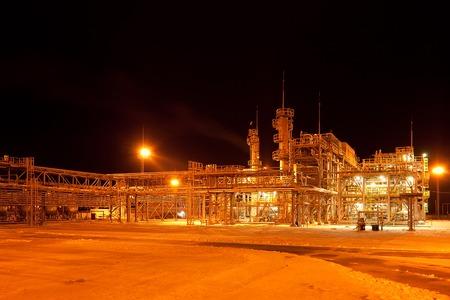 Gas Refinery plant. Winter. Night view. Nobobdy. photo
