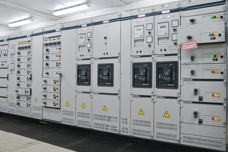 switchgear: Electrical energy distribution substation in a  plant