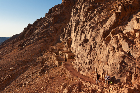 descend: Tourists descend the trail to Mount Moses, Egypt