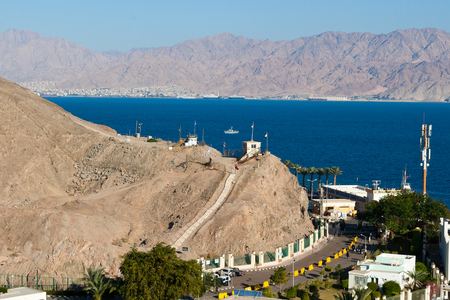 israel passport: View of the Taba border crossing on the Egyptian-Israeli border