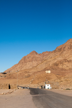 checkpoint: Checkpoint on the road. Landscape in the Sinai, Egypt
