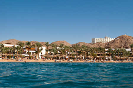 Hotel and beach are on Red sea, Egypt Stock fotó