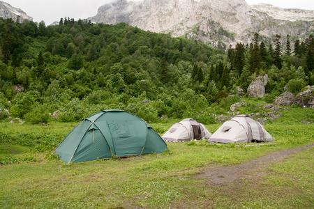 fisht: Tents near the  Mount Fisht, Russia, North Caucasus