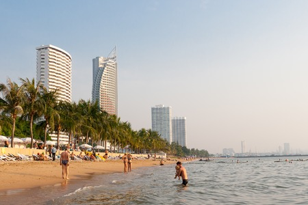 Pattaya, Kingdom of Thailand, December 03, 2018: - People are relaxing on Jomtien Beach