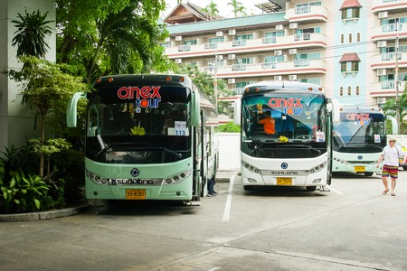 Pattaya, Thailand - December 01, 2018: Parking of tourist buses Anex tour. 報道画像