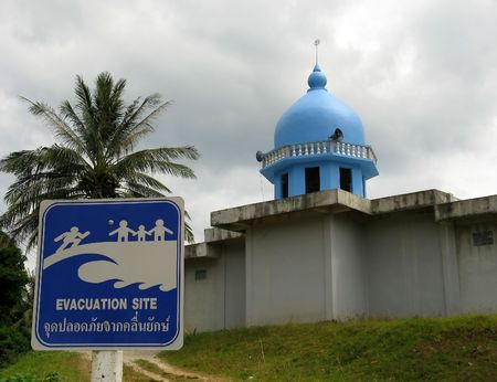 tsunamis: Evacuation site sign in front of mosque