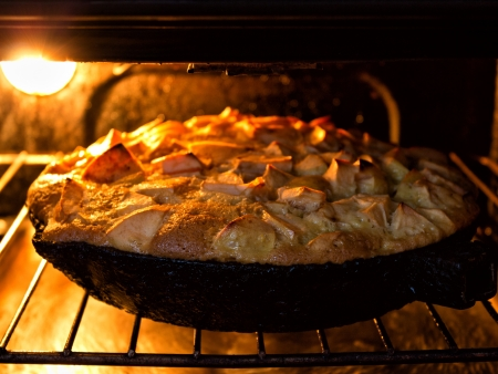 directly above: Apple pie in oven