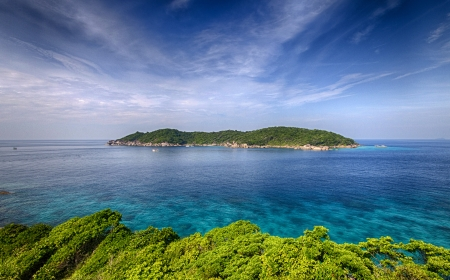 Beautiful island in blue sea photo