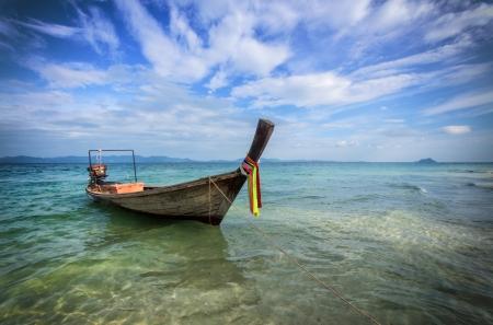 phuket province: Beautiful pictire of longtail boat near Phuket, Thailand Stock Photo