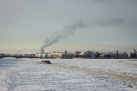 neva: Icebreaker on Neva river, far away