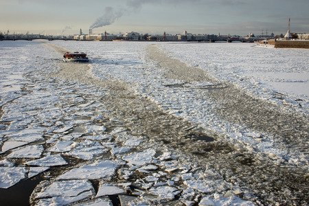 neva: Icebreaker on Neva river, far away