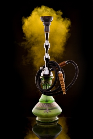 Hookah with color smoke on black