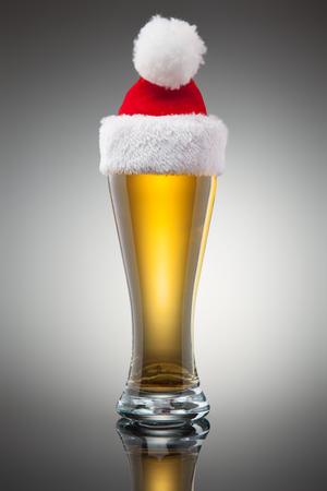 Christmas beer mug. Studio shot. Gradient background