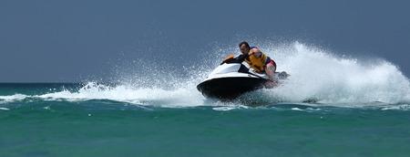 jetski: Man drive on the jetski. Summer, sea