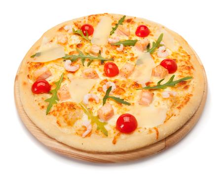high angle: Pizza with seafood. High angle view. Stock Photo