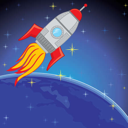 Spaceship Rocket in the Space - illustration illustration