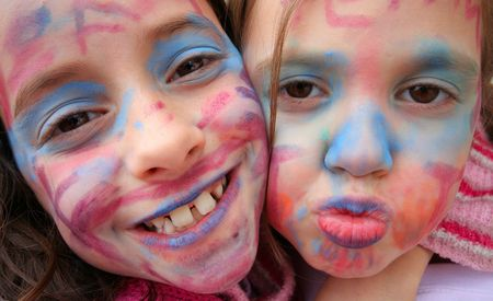 Kids with painted faces Stock Photo