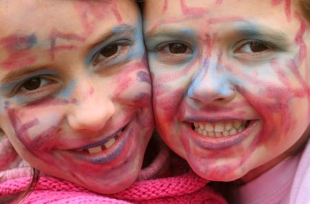 Two young girls with faces painted for carnival Stock Photo - 2676572