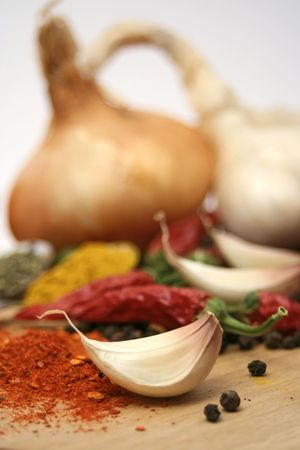 Garlic clove and spices