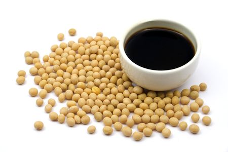 soya beans: Soy sauce and beans Stock Photo
