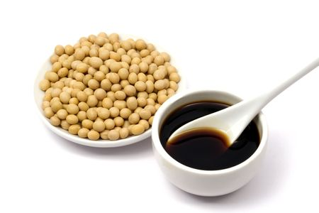 soy sauce: Soy sauce and beans Stock Photo