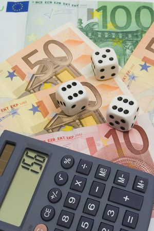 investment risk: Investment risk - dices, money and calculator Stock Photo