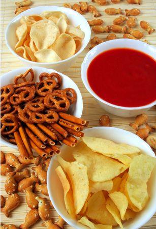 pretzel stick: Salty snacks and salsa dip sauce