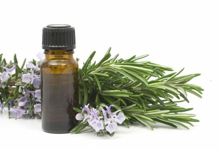 aromatherapy oils: Fresh blossoming rosemary branch and a bottle of essential oil used for aroma therapy