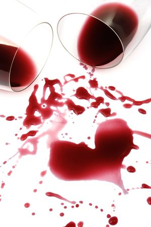 spills: Two glasses of red wine Stock Photo