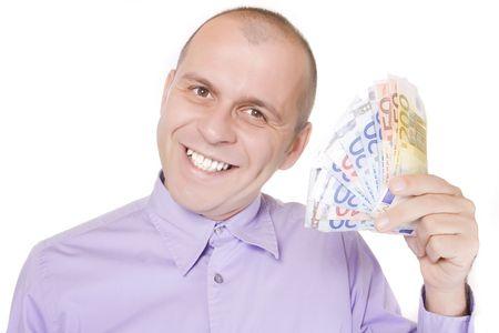 Man holding euro money isolated on white background photo