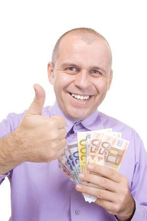 Man holding euro money isolated on white background
