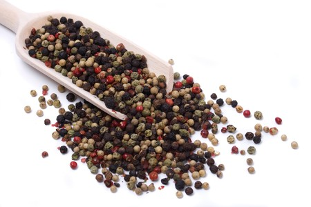 peppercorn: Red, green, black and white peppercorn isolated on white background Stock Photo