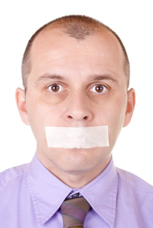 shutup: Middle aged businessman with duct tape on his mouth