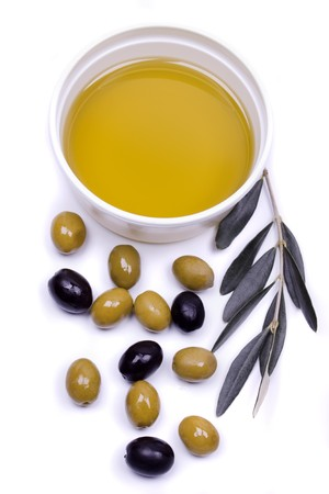 cooking oil: Extra virgin olive oil with black and green olives  Stock Photo