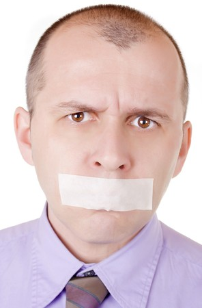 hostage: Portrait of a businessman with taped mouth on white background