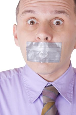 taped: Man with taped mouth isolated on white bacokround