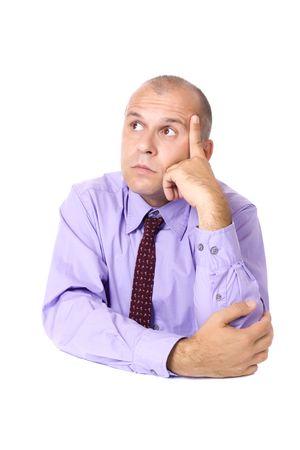 Thinking business man isolated on white background photo