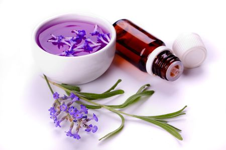 extract: Lavender flower, soap, extract and essential oil isolated on white Stock Photo
