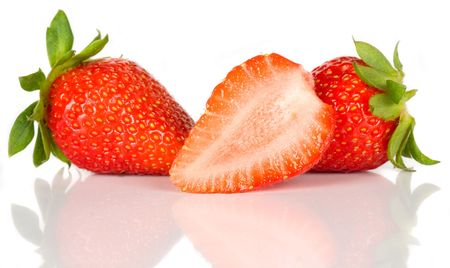 Fresh strawberry fruit isolated on white background Stock Photo