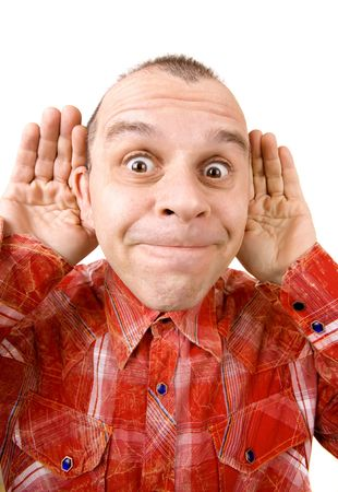 stupidity: Ugly man acting silly isolated on white background