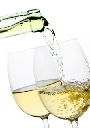 white wine glass: Two glasses of wine isolated on white background Stock Photo