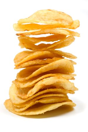 Stack of potato chips isolated on white background Stock Photo